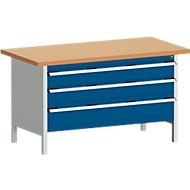 Werkbank met kast cubio KW-1578-2.22, gentiaanblauw