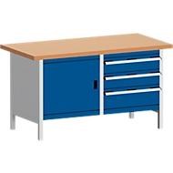 Werkbank met kast KW-1578-2.3, gentiaanblauw