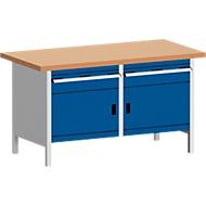 Werkbank met kast KW-1578-2.4, gentiaanblauw