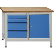 Werkbank mit 1 Tür, 1 Fachböden und 4 Schubladen