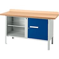 Werkbank PW 150-1, lichtgrau/blau