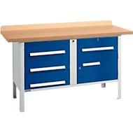 Werkbank PW 150-5, lichtgrijs/blauw