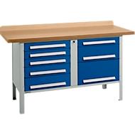 Werkbank PW 150-8, lichtgrau/blau