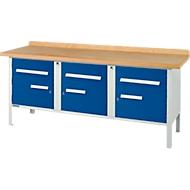 Werkbank PW 200-5, lichtgrau/blau