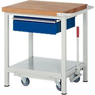 Werkbank Serie 8001, fahrbar, absenkbar, Schublade, B 750 x T 700 x H 880 mm