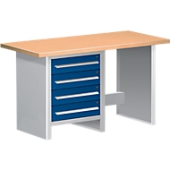 Werkbank WBI 150-1, 4 schuifladen, 1 open element