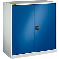 Werkplaatskast, met 2 tussenlegborden, B 1055 mm, lichtgrijs/gentiaanblauw