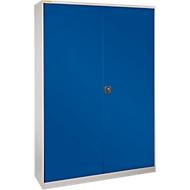 Werkplaatskast XL120 met 40 bakken LF531, blank aluminium RAL 9006/gentiaanblauw RAL 5010
