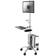 """Werkstation NewStar FPMA-MOBILE1800, voor 10-27"""" beeldschermen/toetsenbord/muis/PC, in hoogte verstelbaar, 25° kantelbaar,"""