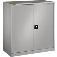 Werkstattschrank, mit 1 Zwischenboden, mit 2 Schubladen, B 1055 mm, weißaluminium RAL 9006/weißaluminium RAL 9006