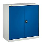 Werkstattschrank, mit 2 Zwischenböden, B 1345 mm, lichtgrau/enzianblau