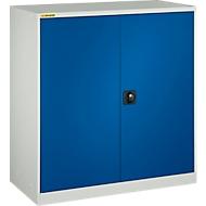 Werkstattschrank, mit 2 Zwischenböden, B 1345 mm, weißaluminium RAL 9006/enzianblau
