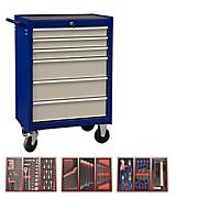 Werkstattwagen Projahn ECOBlue, 6 abschließbare Schubfächer, bis 400 kg, mit Werkzeugbestückung, Stahl pulverbeschichtet