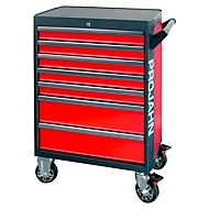 Werkstattwagen PROJAHN GALAXY, Stahlblech, 7 Schubladen, bis 450 kg, abschließbar, Rot/Anthrazit