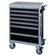 Werkstattwagen PROJAHN GALAXY, Stahlblech, 7 Schubladen, bis 450 kg, abschließbar, Schwarz/Silbergrau