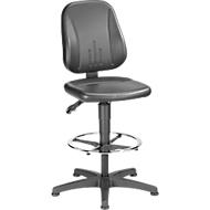 Werkstoel 9651, kunstleer, glijders, voetenring, zwart