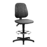 Werkstoel 9651, stoffen bekleding, glijders, voetenring, antraciet