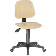 Werkstoel 9653, gelaagd beukenhout, wielen, naturel gelakt