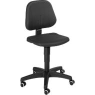 Werkstoel 9653, integraalschuim, wielen, zwart