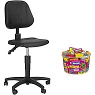 Werkstoel 9653 integraalschuim zwart + Haribo Maoam Bloxx GRATIS