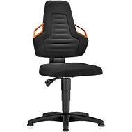 Werkstoel, glijders, stof zwart, handgrepen oranje