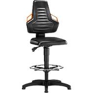 Werkstoel, glijders + voetenring, bekleed met kunstleder zwart, handgrepen grijs