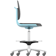 Werkstoel Labsit hoog, integraalschuim, zit-stop-wielen, B 450 x D 420 x H 560 - 810 mm, blauw