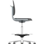 Werkstoel Labsit hoog, kunstleer, glijders, B 450 x D 420 x H 520 - 770 mm, antraciet