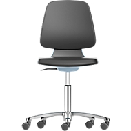 Werkstoel Labsit, integraalschuim, wielen, B 450 x D 420 x H 450 - 650 mm, blauw