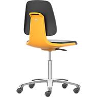 Werkstoel Labsit, integraalschuim, wielen, B 450 x D 420 x H 450 - 650 mm, oranje