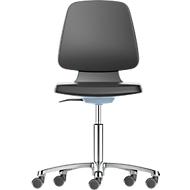 Werkstoel Labsit, kunstleer, wielen, B 450 x D 420 x H 450 - 650 mm, blauw