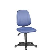 Werkstoel Unitec, stoffen bekleding, glijders, visa middenblauw