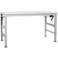Werktafel Ergo K, met zwengel,  1000 x 800 mm, tafelblad melamine, aluminium zilver