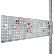 Werkzeug-Lochplatte, für Tischbreite 1250 mm, f. Serie Universal/Profi, alusilber RAL 9006