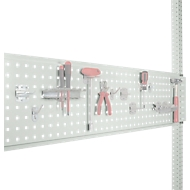 Werkzeug-Lochplatte, für Tischbreite 1250 mm, f. Serie Universal/Profi, lichtgrau RAL 7035