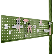 Werkzeug-Lochplatte, für Tischbreite 1250 mm, f. Serie Universal/Profi, resedagrün RAL 6011