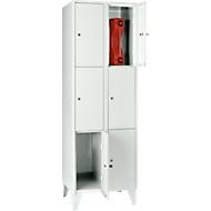 Wertfachschrank 300 mm, 2 Abteile, 6 Fächer, Fuß, lichtgrau