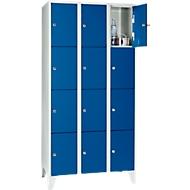 Wertfachschrank 300 mm, 3 Abteile, 12 Fächer, Sicherheitszylinderschloss, Fuß, enzianblau
