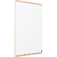 Whiteboard Rocada Natural Skinboard, magn.adhesive, high/cross, opslagbak, staal op hout, B 1000 x H 1500 mm