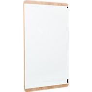 Whiteboard Rocada Natuurlijk, magnetisch, hoog/laag, opbergbakje, staal op melaminehout, B 750 x H 1150 mm