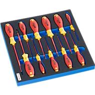 WIHA set geïsoleerde schroevendraaiers in hardschuiminleg, 11-delig, voor kastenserie FS5,  Afmeting 299