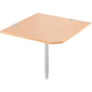 Winkelplatte 90° mit Fuß, B 900 x T 900 mm, Buche-Dekor/weißalu