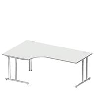 Winkelschreibtisch 90° COMBITEC, B 2000 x T 800 mm, lichtgrau/weißalu