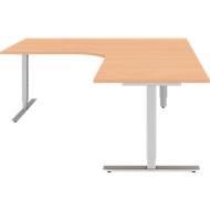 Winkelschreibtisch BARI 90°, T-Fuß, Freiformtisch, Winkel rechts, B 1800 x T 1000/800 x H 680-820 mm, Buche/Alu