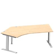 Winkelschreibtisch MODENA FLEX 135°, Ansatz links, C-Fuß-Rechteckrohr, B 2165 mm, ahorn/weiß