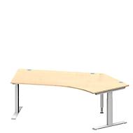 Winkelschreibtisch MODENA FLEX 135°, T-Fuß-Rechteckrohr, B 2165 mm, Ansatz rechts, Ahorn/weißalu