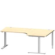 Winkelschreibtisch MODENA FLEX 90°, Ansatz rechts, C-Fuß-Rundrohr, B 2000 mm, ahorn/weiß