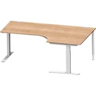 Winkelschreibtisch MODENA FLEX 90°, C-Fuß-Rechteckrohr, B 2000 mm, Ansatz rechts, Kirsche