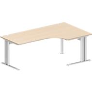 Winkelschreibtisch, PLANOVA BASIC, B 2000 mm, Ahorn-Dekor, Gestell weiß