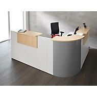 Winkeltheke Come-In, rund, 3 Ablagen, Breite 1600 mm, Eckelement silber, weiß/Ahorn-Dekor